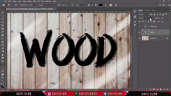 浮雕字,在PS中制作逼真的木板上的浮雕字_www.16xx8.com
